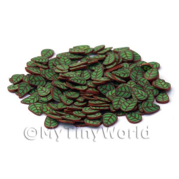Dolls House Miniature  | 50 Green and Copper Leaf Cane Slices (NS22)