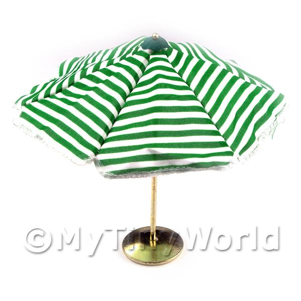 Dolls House Miniature  | Dolls House Miniature Opening Black Striped Parasol Metal Base