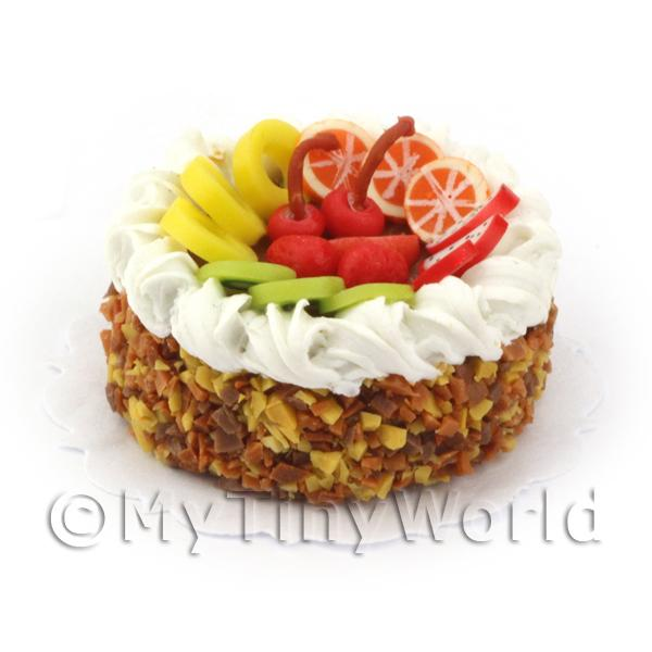 Dolls House Miniature Toffee Fruit Gateaux