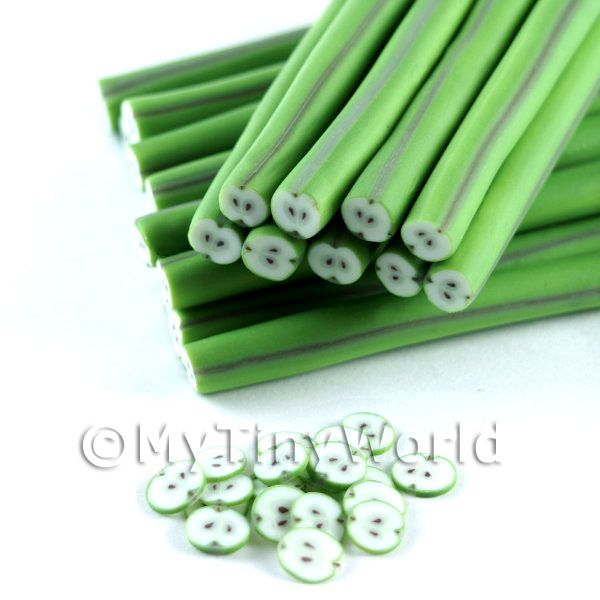 Dolls House Miniature  | Highly Detailed Green Apples Nail Art Cane (NC60)