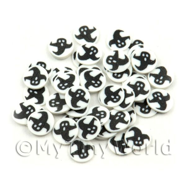 50 Black Ghosts With White Surround Nail Slices (NS67)