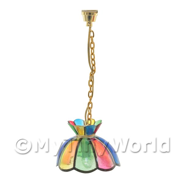 Dolls House Miniature Scalloped Stained Glass Hanging Lamp