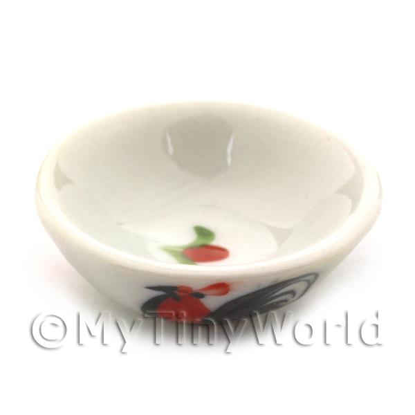 35mm Dolls House Miniature White Ceramic Cockerel Bowl