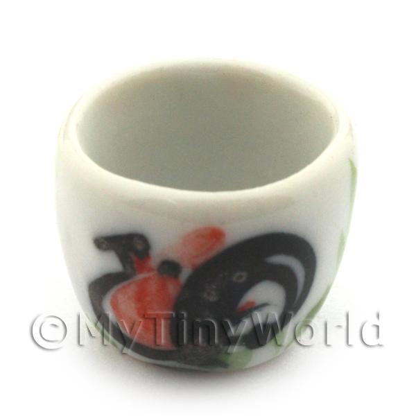16mm Dolls House Miniature White Ceramic Cockerel Plant Pot