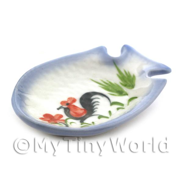 Dolls House Miniature 36mm x 53mm White Ceramic Fish Shaped Cockerel Plate