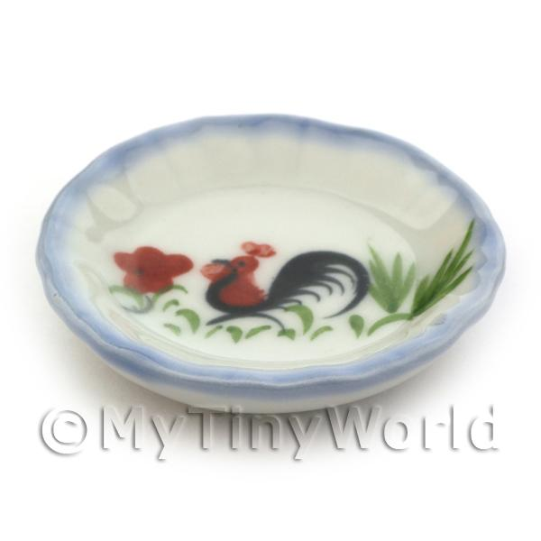 42mm Dolls House Miniature White Ceramic Cockerel Plate With Blue Edging