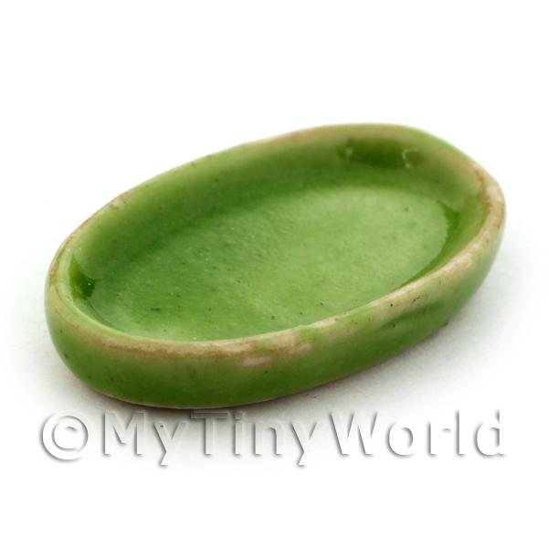 Dolls House Miniature 14mm x 23mm Oval Green Plate