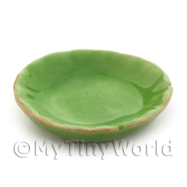 25mm Dolls House Miniature Green Fluted Edge Plate
