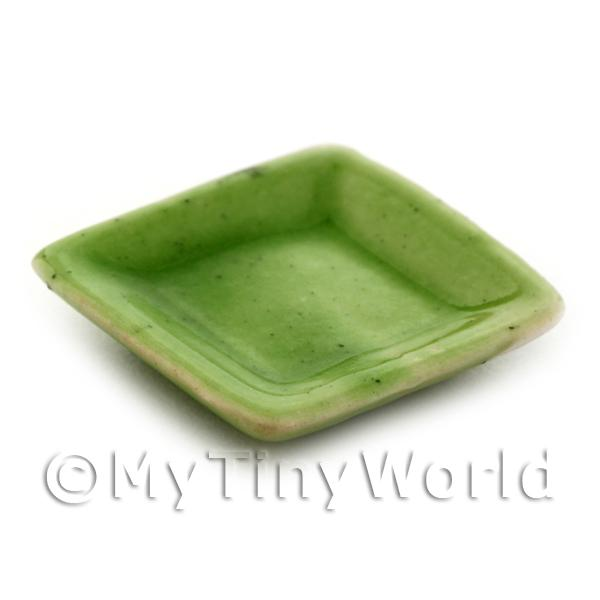 21mm Dolls House Miniature Green Square Plate