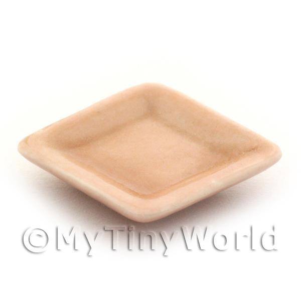 21mm Dolls House Miniature Salmon Glazed Ceramic Square Plate