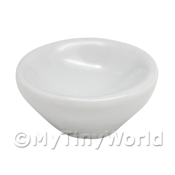 12mm Dolls House Miniature White Glazed Ceramic Bowl