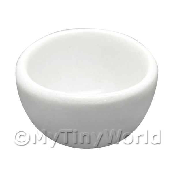 16mm Dolls House Miniature White Glazed Ceramic Bowl