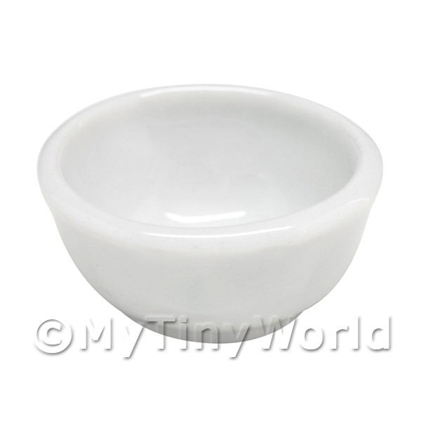 25mm Dolls House Miniature White Glazed Ceramic Bowl