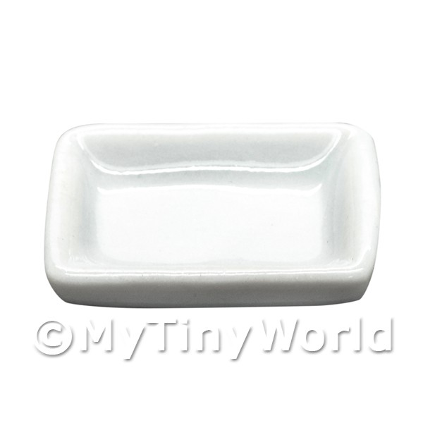 Dolls House Miniature 14mm x 20mm White Glazed Ceramic Plate