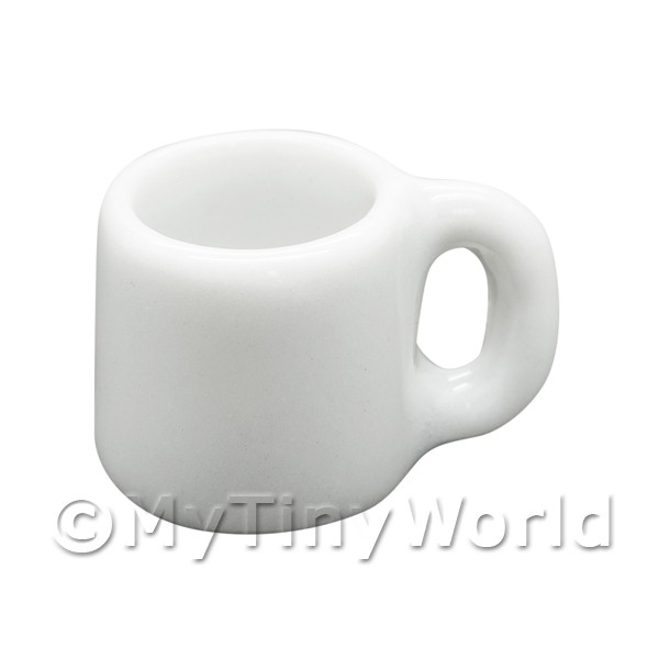 10mm Dolls House Miniature White Glazed Ceramic Coffee Mug