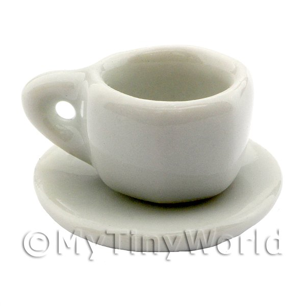 Dolls House Miniature White Glazed Ceramic 7 Sided Cup and Saucer