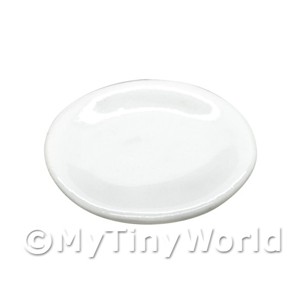 20mm Dolls House Miniature White Glazed Ceramic Plate