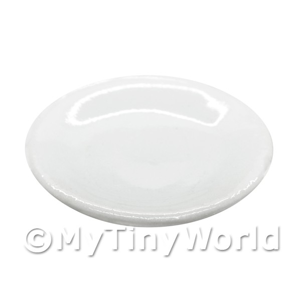 26mm Dolls House Miniature White Glazed Ceramic Plate