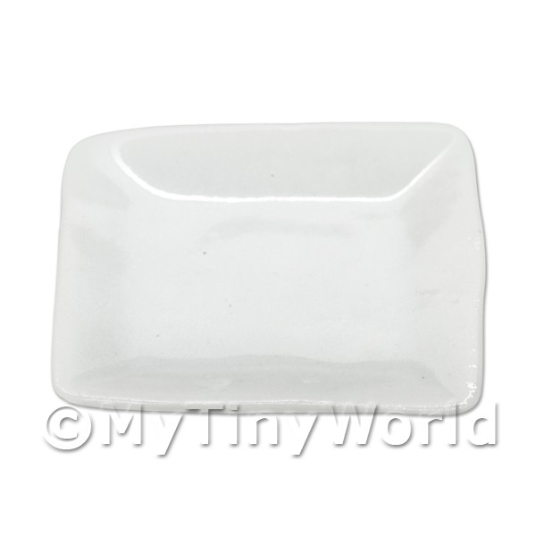 30mm Dolls House Miniature White Glazed Ceramic Square Plate