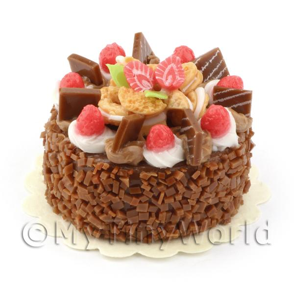 Dolls House Miniature Strawberry Fudge Cake