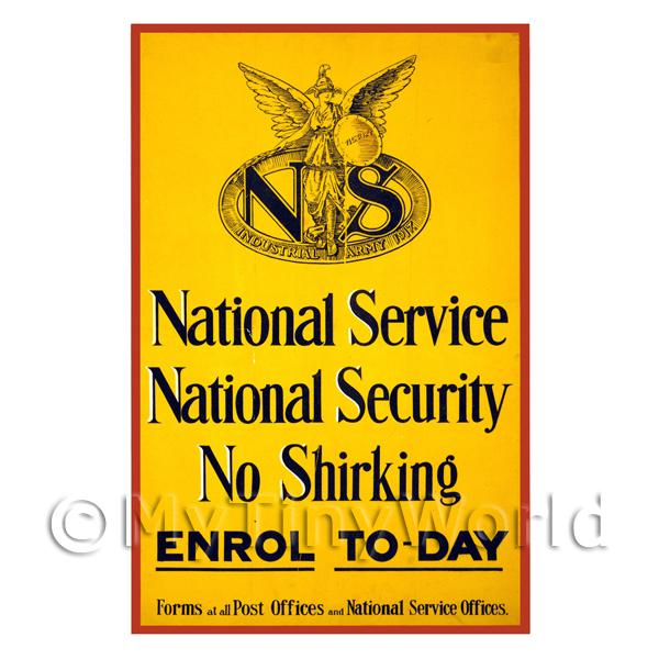 National Service, National Security - Miniature Dollshouse WWI Poster