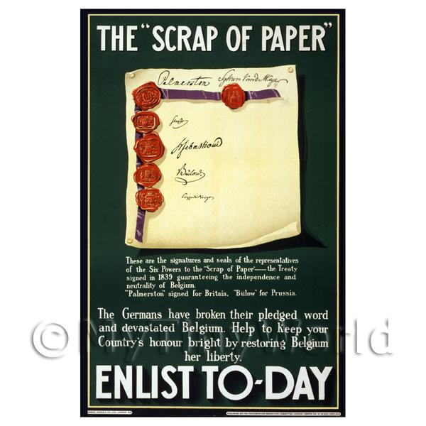 The Scrap Of Paper Enlist Today - Miniature Dollshouse WWI Poster