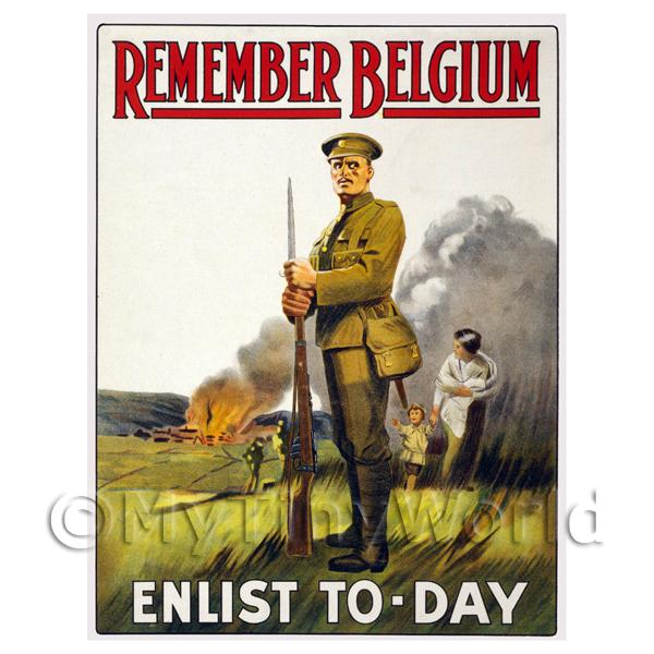 Dolls House Miniature  | Remember Belgium! - Miniature WWI Poster