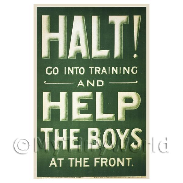 1/12 Scale Dolls House Miniatures  | Halt! Help The Boys - Miniature WWI Poster