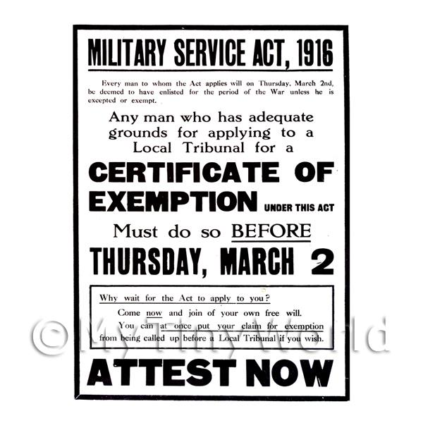 Military Service Act 1916 Attest Now - Miniature Dollshouse WWI Poster