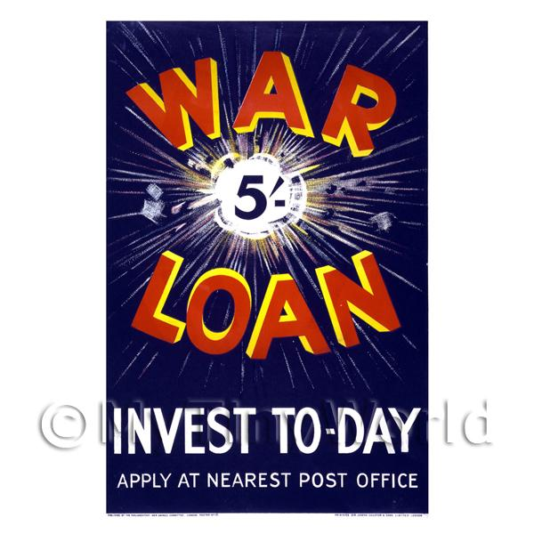 War Loan Invest Today - Miniature Dollshouse WWI Poster