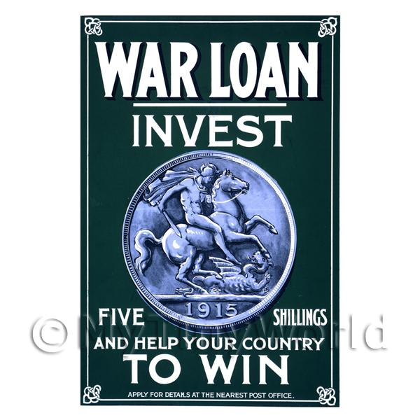 War Loan Invest 5 Shillings And Win - Miniature Dollshouse WWI Poster