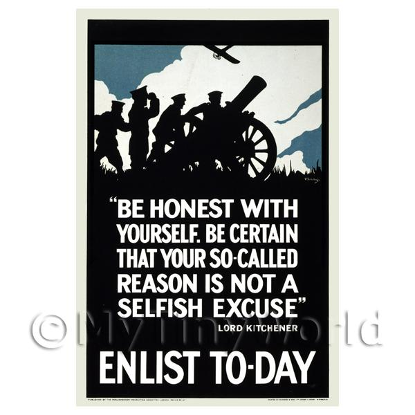 1/12 Scale Dolls House Miniatures  | Be Honest With Yourself - Miniature WWI Poster