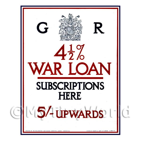 4 1/2 Percent Interest War Loan - Miniature Dollshouse WWI Poster