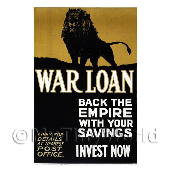 1/12 Scale Dolls House Miniatures  | Back The Empire - War Loan - Miniature WWI Poster