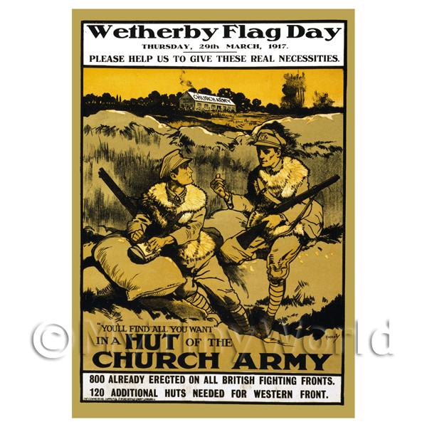 Dolls House Miniature  | Wetherby Flag Day - Miniature WWI Poster