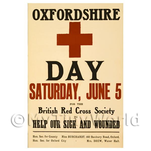 1/12 Scale Dolls House Miniatures  | Oxfordshire Red Cross Day - Miniature WWI Poster