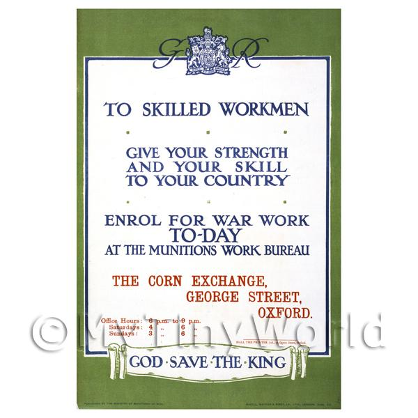 Skilled Workmen Gie Your Strength- Miniature Dollshouse WWI Poster