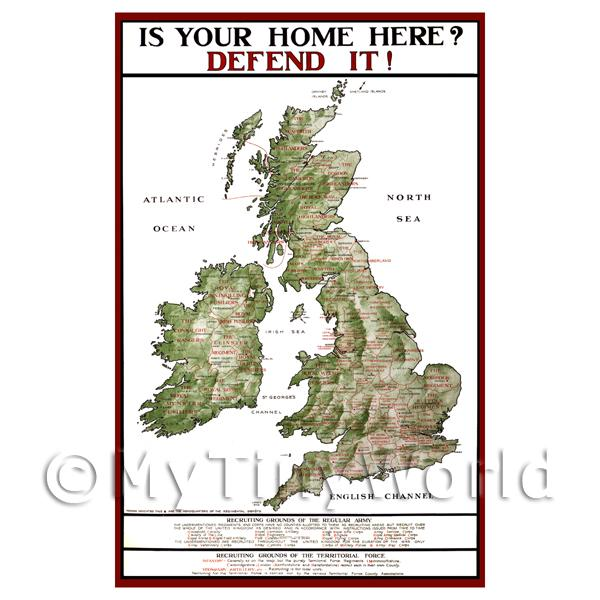 1/12 Scale Dolls House Miniatures  | Is Your Home Here? - Miniature WWI Poster
