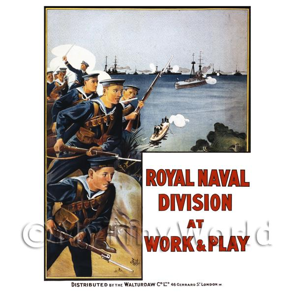 1/12 Scale Dolls House Miniatures  | Royal Naval Division - Miniature WWI Poster