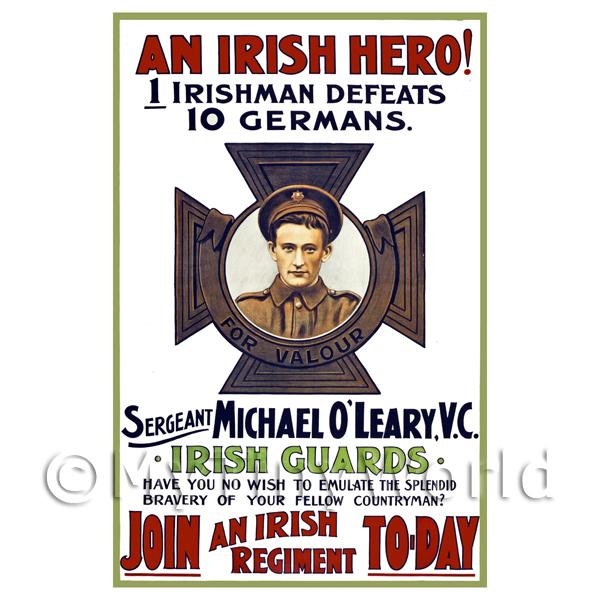 1/12 Scale Dolls House Miniatures  | An Irish Hero! - Miniature WWI Poster