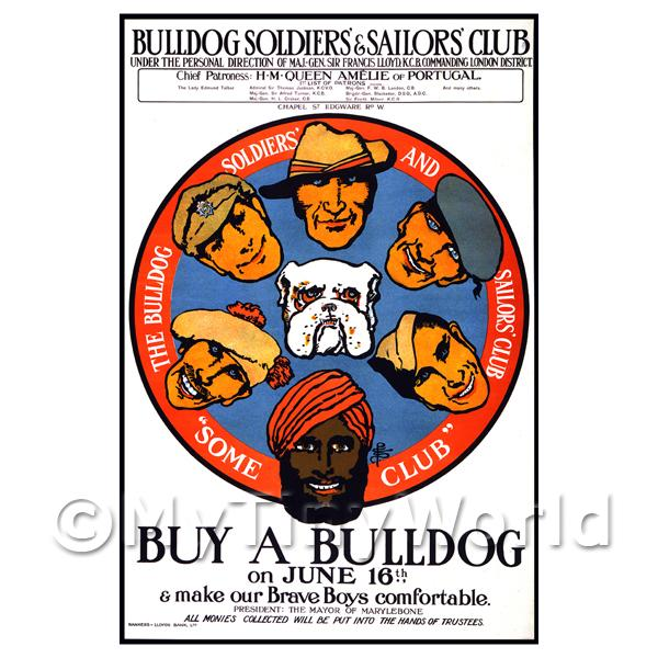 Buy A Bulldog For Our Brave Boys - Miniature Dollshouse WWI Poster