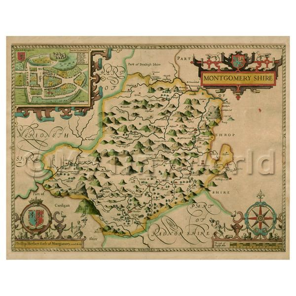 Dolls House Miniature John Speed Aged Montgomeryshire Map