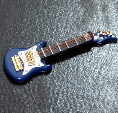 Dolls House Miniature Blue Electric Guitar