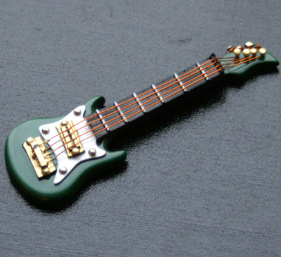 Dolls House Miniature Green Electric Guitar