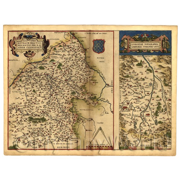 1/12 Scale Dolls House Miniatures  | Dolls House Miniature Old Map Of The Biturigi Of France From The Late 1500s