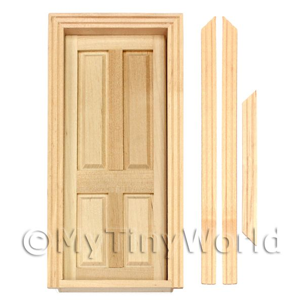 Dolls House Miniature Internal Opening Wood 4 Panel Door