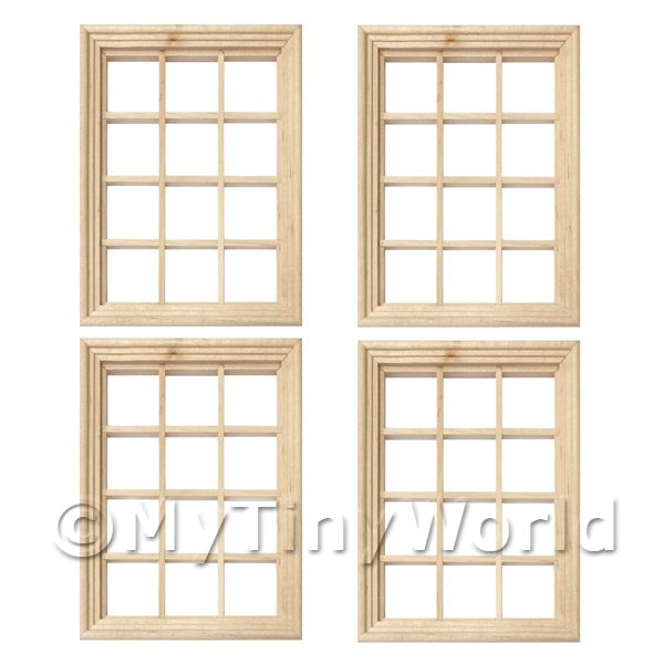 4 x Dolls House Miniature 12 Pane Georgian Windows And Glazing