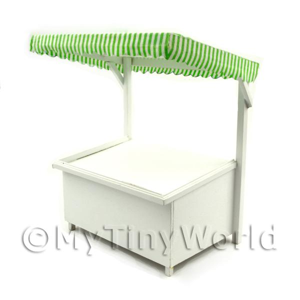 Dolls House Miniature  | Miniature Large Wood Market Stall With Green Stripey Cloth Canopy