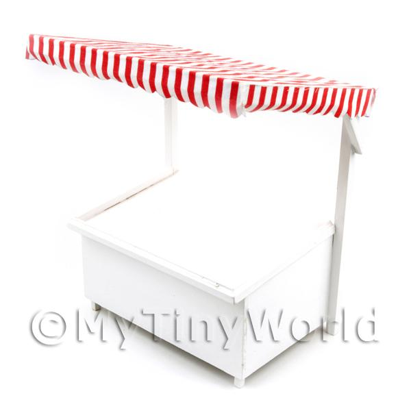 Miniature Large Wood Market Stall With Red Stripey Cloth Canopy