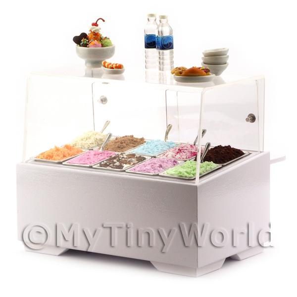 Dolls House Miniature Complete Ice Cream Wood Shop Display Counter